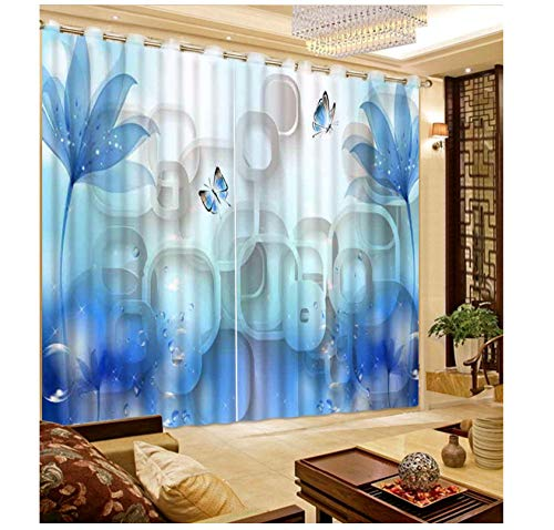 Wkjhdfgb personalizza tende 3d tende fiore blu fantasia per soggiorno camera da letto decorazione domestica tenda finestra 215x260cm