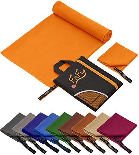 Fit-Flip 100x200cm - 1 Stück/Orange, campinghandtuch Strandtuch 200x100 Mikrofaser saunatuch 200x100 Mikrofaser Handtuch 180x90 Mikrofaser Handtuch 180 (Ultra Saugfähiges Mikrofaser-handtuch)