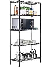 Callas Height Adjustable Shelf Rack Leveling Feet Chromium Steel Layer Shelf Organizer for Kitchen, Garage and Office (5-Shelf, Black)