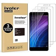 [3 Pack] Pellicola Vetro Temperato Xiaomi Redmi 4 / 4 Prime / 4 Pro, iVoler ** [Protezione Antigraffi] **Anti-riflesso Ultra-Clear** Ultra resistente in Pellicola Xiaomi Redmi 4 / 4 Prime / 4 Pro, Pellicola Protettiva Protezione Protettore Glass Screen Protector per Xiaomi Redmi 4 / 4 Prime / 4 Pro.Vetro con Durezza 9H, Spessore di 0,3 mm,Bordi Arrotondati da 2,5D - Garanzia a Vita