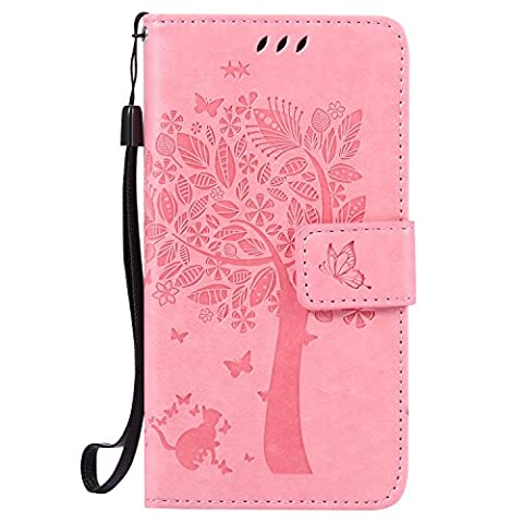 Samsung Galaxy A5 Case Leather [Pink], Cozy Hut [Wallet Case] Premium Soft PU Leather Notebook Wallet Embossed Flower Tree Design Case with [Kickstand] Stand Function Card Holder and ID Slot Slim Flip Protective Skin Cover for Samsung Galaxy A5 2015 / SM-A500F 5.0 inch (Not For Samsung Galaxy A5 (2016 New Version)) -