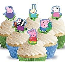 12 x Cakeshop decoración para pasteles comestibles PRECORTADAS de Peppa Pig