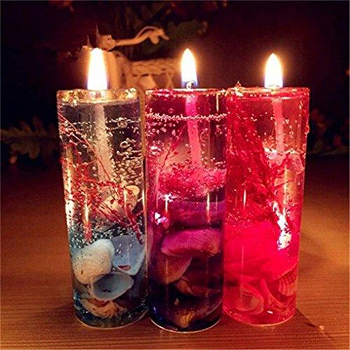 Kingko® Glas + Gelee-Wachs für Hochzeit, Party und Zuhause etc Flame 1Pc Aromatherapy rauchfreie Kerzen Ocean Shells Valentines Duft Jelly Candle (Mehrfarbig) - Licht-jelly Jar