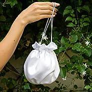 Borse Borsa Pochette donna tela tessuto raso saten bianco