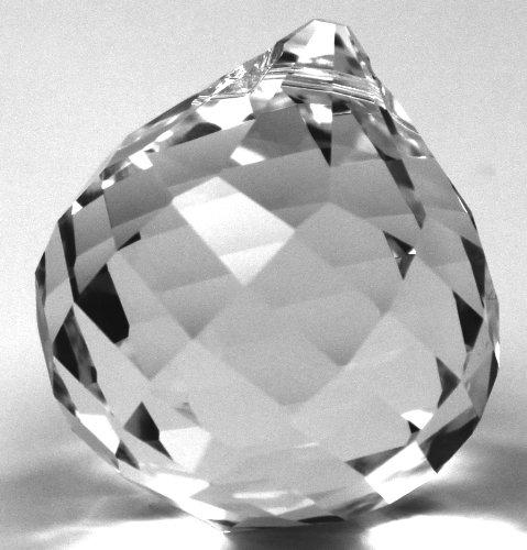 Rieser premium-kristall Kristallglas Set: Kugel spiralschliff 40mm SPECTRA® CRYSTAL von Swarovski - Feng Shui Pendel + Aufhängeset