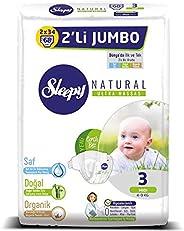 Sleepy Natural 2'li Jumbo Bebek Bezi, 3 Beden, Midi, 68
