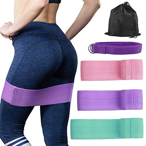 OFUN Fitnessbänder Set 3 Stärken, Widerstandsbänder krafttraining aus Doppelseitige Gleitscheiben Stoff, Trainingsband & Yogagurt für Bauchmuskeln,Beine und Hüften