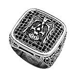 Piersando Herren Ring Edelstahl Massiv Breit Herrenring Fingerring Männer Biker Rocker Silber Tribal Adler Totenkopf schwarze Kristalle Größe 63 (20.1)