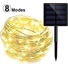 GEEKHOM Solar String Lights, Outdoor Waterproof Warm White Starry Fairy Lights, 20m 200 LEDs 8 Modes Copper Wire Ambient Decorative Rope Lights for Garden Patio Lawn Christmas Tree Party Wedding