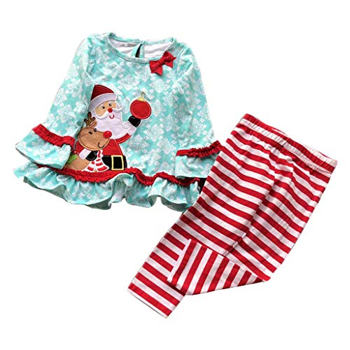 TPulling Baby Mädchen Kleidung Santa Kleid Tops gestreifte Hosen Set Outfits Xmas Kleidung