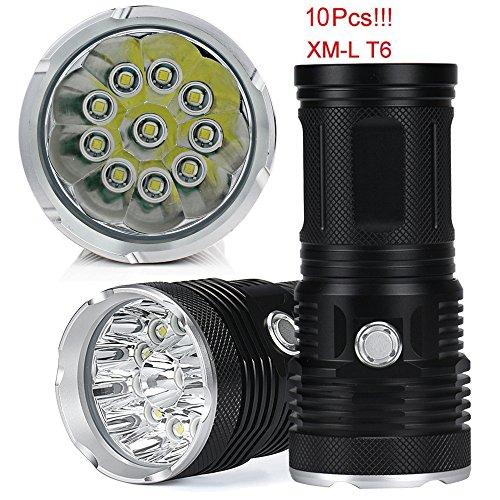 TopTen Fan-Motive LED Taktische Taschenlampe, 10000Lumen 10x T65Modi Super Hell Wasserdicht-Camping Licht für Angeln Jagd Wandern und Outdoor Aktivitäten Iphone 4-körper-handschuh-fall