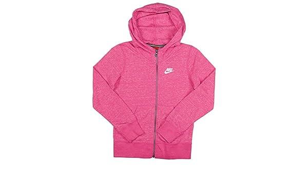 8b57ac44b7cb6 Nike Big Girls' (7-16) Gym Vintage Full Zip Hoodie-Heather pink ...