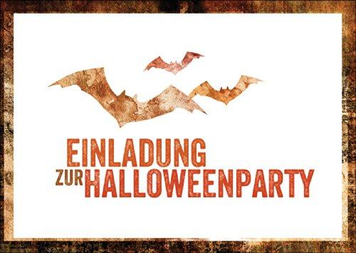 adungskarte zu Halloween mit Fledermäusen: Einladung zur Halloweenparty • auch zum direkt Versenden mit ihrem persönlichen Text als Einleger. (Halloween-party-einladung Text)