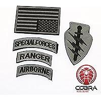 Cobra Tactical Solutions Conjunto de Parche Militar Fuerzas Especiales Ranger Airborne con Bandera EE. UU. Plata y Cinta adherente