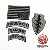 Cobra Tactical Solutions Military Patch Set Special Forces Ranger Airborn mit Flagge USA Silber und Klettverschluss