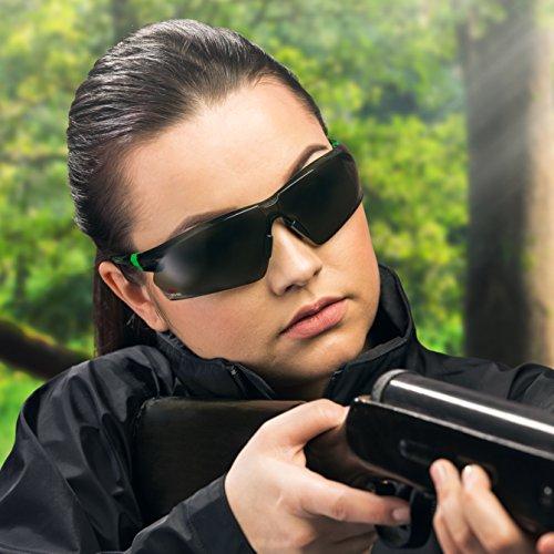 NoCry Sonnen-Schutzbrille mit grün getönten, kratzbeständigen Gläsern, Seitenschutz und rutschfesten Bügeln, UV 400 Schutz, verstellbar, schwarz grüner Rahmen. - 4
