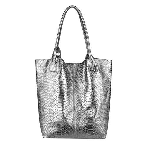 OBC donna metallizzato BORSA SHOPPER HOBO BAG Borsa a tracolla borsetta con manici borsa marsupio - dunkelsilber-leder (SERPENTE), ca 42x35x16 cm ( BxHxT ) dunkelsilber-leder (SERPENTE)