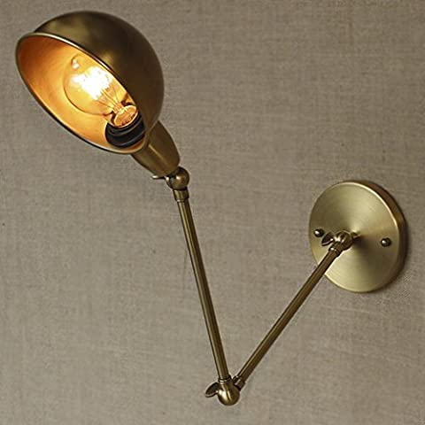 BAYCHEER Vintage Wall Lamp Indoor Light Aged Brass Swing Arm Wall Sconce 1 Light