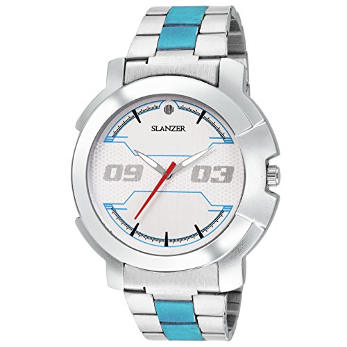 Slanzer Sterling SLZ-0017 Silver Dial Silver/Blue (Two Tone) Chain Sports Men's Watch  available at amazon for Rs.449