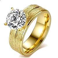 خاتم للنساء ذهبي مزركش مع حجر الزركون مقاس 6