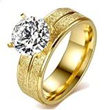 Ring for women with gold and gold plated with zircon stone size 6