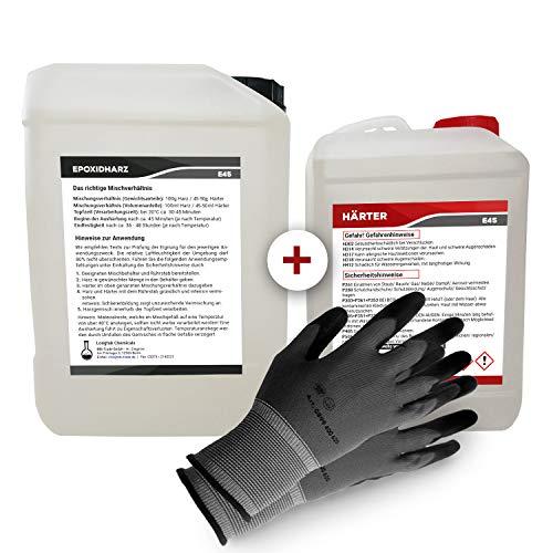 Epoxidharz mit Härter | 10,5kg GfK set | Profi Qualität glasklar & geruchsarm | Gießharz für Holz + Schutzhandschuhe -