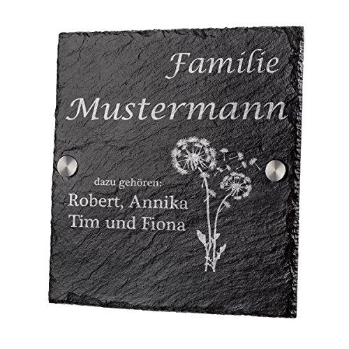 polar-effekt Personalisiertes Türschild mit Familien Name - Schiefertafel Geschenk zum Einzug - Namensschild Schieferplatte 20x20cm - Hausnummerschild mit Gravur - Motiv Pusteblume