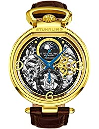 Stührling Original Mens Analog Display Automatic Self Wind, Skeleton Dial, Dual Time, AM/PM Sun Moon, Leather Band