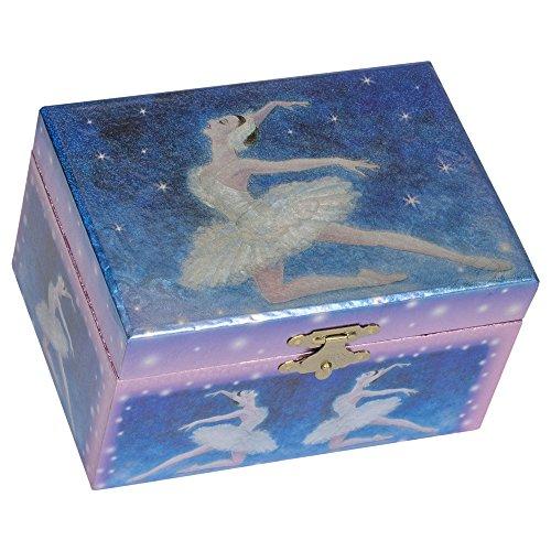 Splendid Music Box Metallic Dunkel Blau Co. Ballerina Tanzen Papier Musical Jewelry Box Spielt Swan Lake