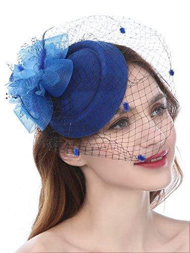 Fascinators Hut Blume Mesh Bänder Federn auf einem Stirnband und einem geteilten Clip Cocktail Tea Party Headwear für Mädchen und Frauen (Jahren 1920er Flapper-hut)