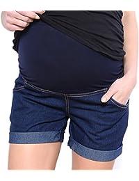 Mija - Kurze Jeans Umstandsshorts/Umstandshose mit Bauchband für Sommer 3086