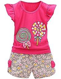 VECDY Conjuntos Bebé Niña, 2pcs Niños Bebés Niño Camiseta Mangas Cortas Ropa Lolly Tops Y Pantalones Verano Ropa Conjunto Impresión Floral Suave Ropa Pequeños Niños