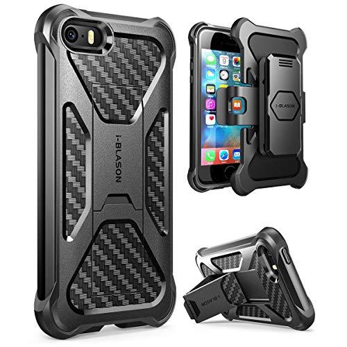 i-Blason Apple iPhone SE (2016) / 5S / 5 Hülle Prime Handyhülle Outdoor Case Stoßfest Schutzhülle Dual Layer Cover mit Halter und Gürtelclip, schwarz - Für 5s Otterbox-handy-fall