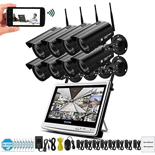 Lqqsxt Kamera 1080P 2MP Video Surveillance Kit Wireless-LCD-NVR-Überwachungskamera-System WiFi-Überwachungskamera HD P2P-Technologie Nachtsicht mit 2 TB Festplatte (größe : D) Wireless Home Surveillance Kit