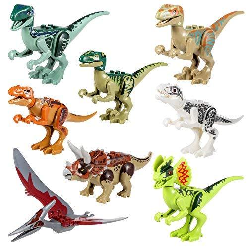 Yosemy Dinosauro Giocattolo Set Dinosauri da Montare Minifigure con la Testa Mobile Bocca Mani Piedi Regalo per Bambini Festa di Compleanno Plastica Multicolore 8 Pezzi