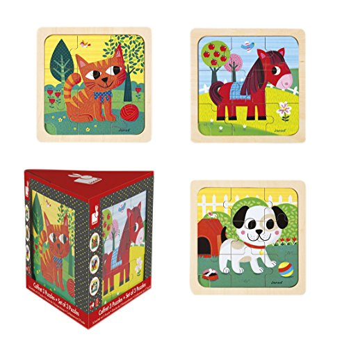Janod-Jouet en Bois-Chunky Puzzle Set Tornado Felix Titus chien chat Cheval je 9pièces Multicolore