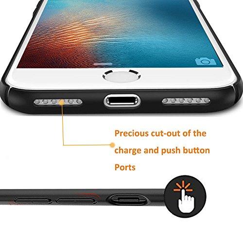iPhone 7 4,7 pollici Custodia, LCHULLE Ultra magro Soft TPU Silicone Indietro Copertina, leggero e Antiurto Chiaro PC Placcatura protettivo Paraurti Caso Copertina-Nero Nero