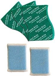 Scotch Brite Scrub Net Sponge (Pack of 2) and Scrub Pad Large (Pack of 3)