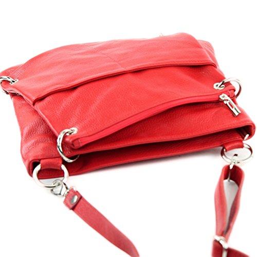 modamoda de -. cuoio ital Borsa da donna Messenger bag borsa a tracolla in pelle borsa NT07 2in1 Rot