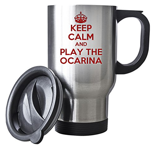 Duke Gifts Rot Keep Calm and Play die Ocarina Silber Reise Tasse