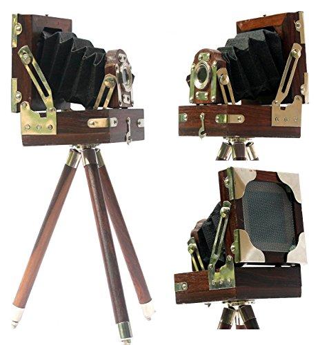 Collection Achetez Look Vintage Film Appareil photo trépied En Bois Miniature de Collection Studio 10,2x 10,2x 12,7cm cadeau Marron