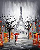 Suubboo Pintura por números Sin Marco Pintura Diy Por Números Torre Eiffel De París Paisaje Pintura Acrílica Imagen Moderna Decoración Para El Hogar Para La Sala De Estar 40X50Cm