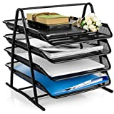 Velesolv File Desk Organizer, 4-Tier Metal Mesh File/Documents/Letters/A4 Size Files Rack with slidable compartments - Black