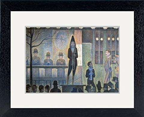 Print of ''Circus Sideshow', 1887-1888. Artist: Georges-Pierre Seurat' in Black Frame