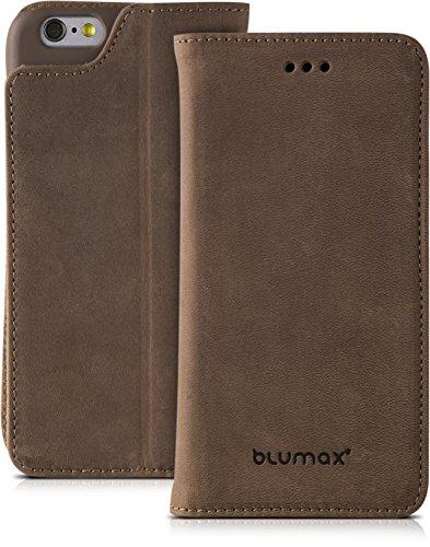 Design-echt-leder-geldbörse (iPhone 6 iPhone 6s Passend echt Ledertasche mit Kartenfach von Blumax für Apple Tasche ohne Magnet Vintage Braun Leder Hülle)