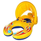 HONGCI Mother & Baby Swim Float, Soft Inflatable Kids Swimming Ring with Canopy