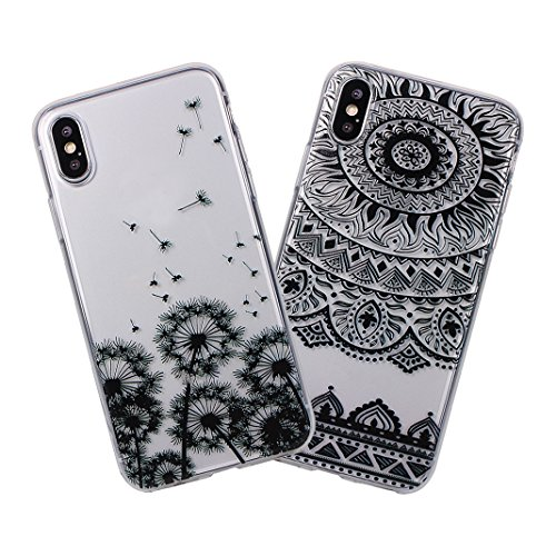 iPhone X Custodia, iPhone 10 Trasparente Cover, MeiC Power Cassa Cristallina Ultra Sottile Silicone Case Molle di TPU Protettiva Custodia Cover Case Caso en Relieve Shockproof Bumper Shell Case per iP F-2 Pezzi
