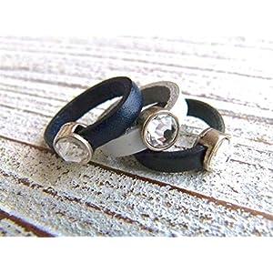 Lederring dunkelblau, weiß oder schwarz mit Zamak Kristall, Geschenk, Valentinstag