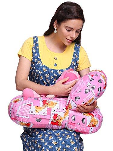 MomToBe Cotton Fabric Bear Feeding/Nursing Pillow - Micro Fiber, Pink