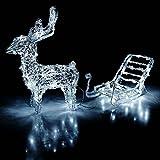 Multistore 2002 Leuchtendes Rentier mit Schlitten für den Innen- und Aussenbereich 64 LEDs Weihnachtsdeko Gartendeko Gartenbeleuchtung
